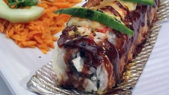 baked salmon sushi roll