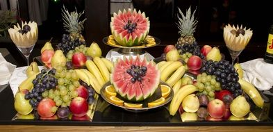 beautiful table with healthy fruits in the hotel