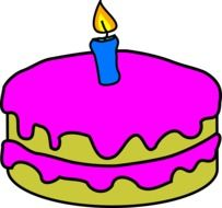 clipart, picture of pink birthday cake with one candle