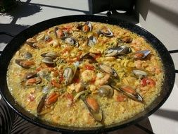 rich spanish paella with seafood