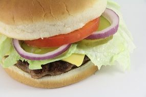 Hamburger on a white surface