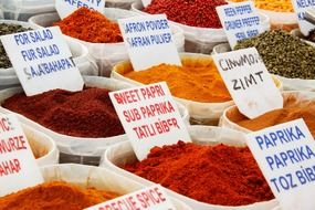 colorful fragrant spices on the market