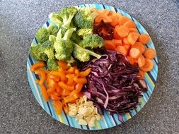 Fresh vegetables on a colorful plate