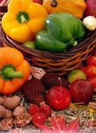 bright fruits and vegetables