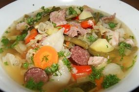 Pichlsteiner, traditional german soup with vegetables and meat