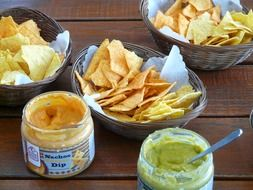 tortilla chips with sauces