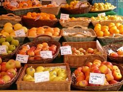 sale of fruits and vegetables