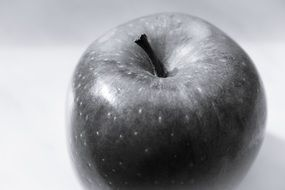 apple in black and white image