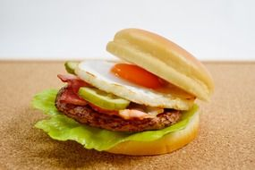burger with a fried egg