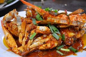 Dish of crabs and shellfish in Malaysia