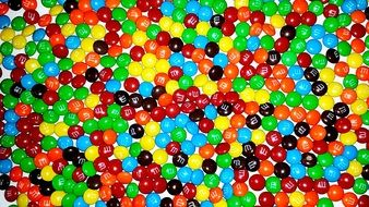 many colorful sweets m & m