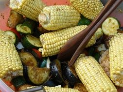 Corn salad with vegetables