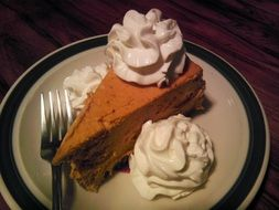 pumpkin cheesecake with whipped cream on plate