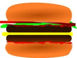 drawing of a hamburger with cheese and cutlet on a white background