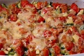 vegetable cheese casserole food