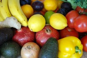 vegetables and fruits in a box