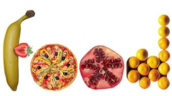 vitamin fruits banana pomegranate orange and pizza