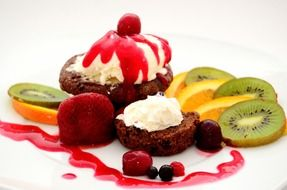fruits dessert with whipped cream