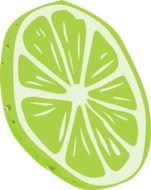 green lemon slice as a drawing