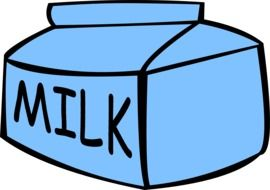 painted blue milk carton