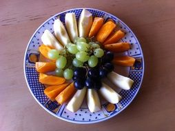 sliced fruit and grapes on a plate