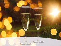 champagne glasses in bokeh
