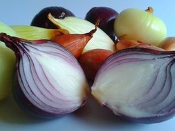 cut red onion bulbs