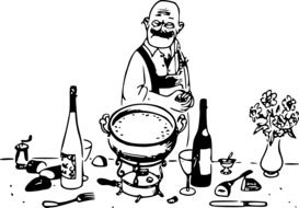 Black and white drawing of a cook near a fondue