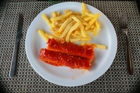 French fries with meat sticks