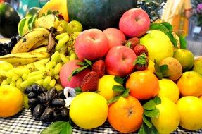 multicolored ripe exotic fruits on the table