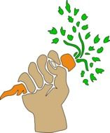 Picture of hand holding carrot