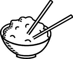 chinese food in bowl, illustration