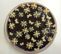 Beautiful marzipan butterflys on the chocolate cake