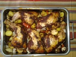 roasted chicken in oven dish