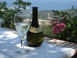 a glass of white wine and a bottle on the table in Greece