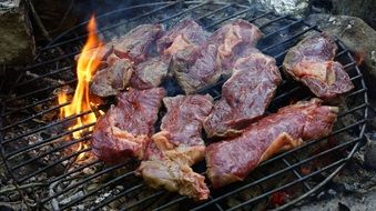 barbecue, meat steaks on grill