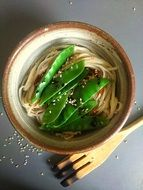 noodles with green leaves