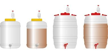 drawn four plastic barrels for beer