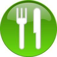 round green sign with cutlery