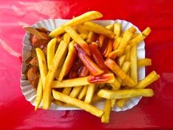 tasty french fries with ketchup