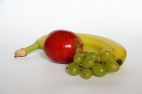 healthy apple and banana and grapes fruit