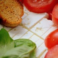 feta, tomatoes, basil and bread, italian food