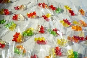 Red yellow gold bears gummi packed