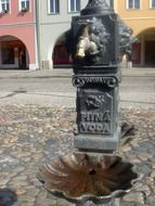 drinking water in the town square