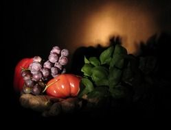 still life of vegetables in the beam of light
