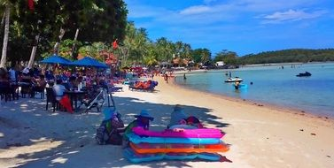 lively beach in Koh Samui