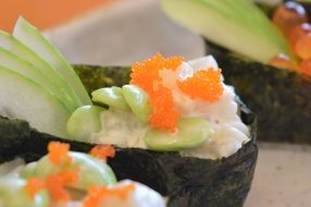 delicious japanese sushi close-up on blurred background