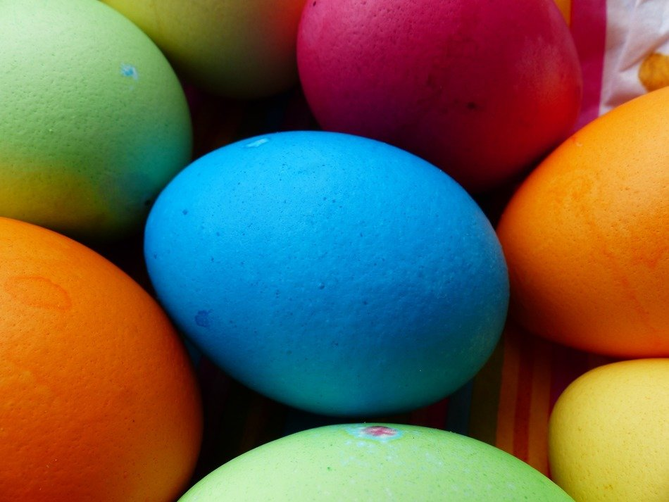 colorful paint easter eggs