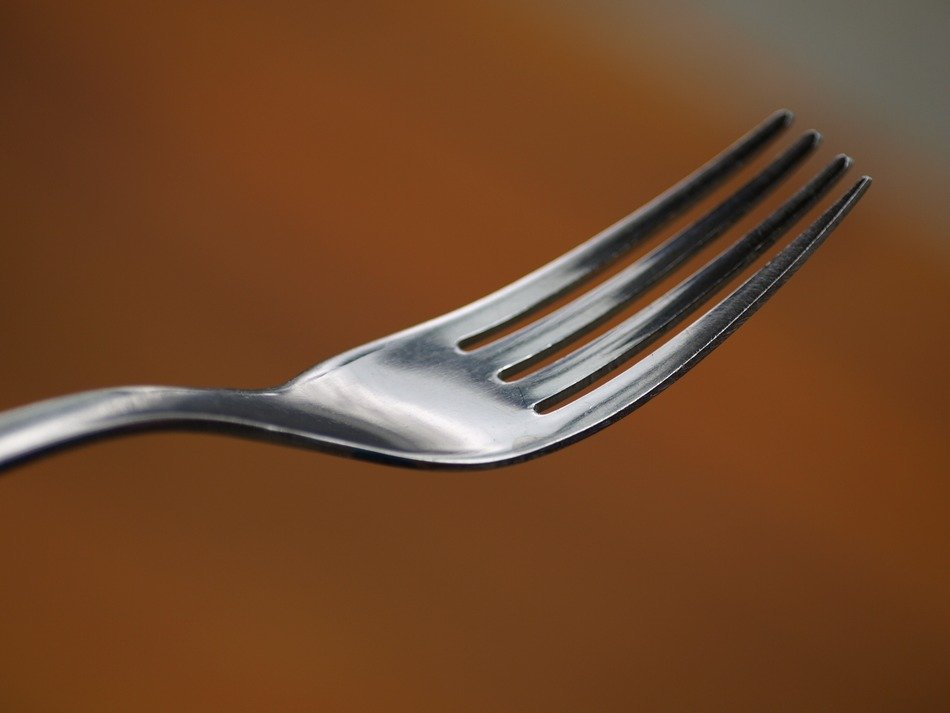 detail of steel fork close up