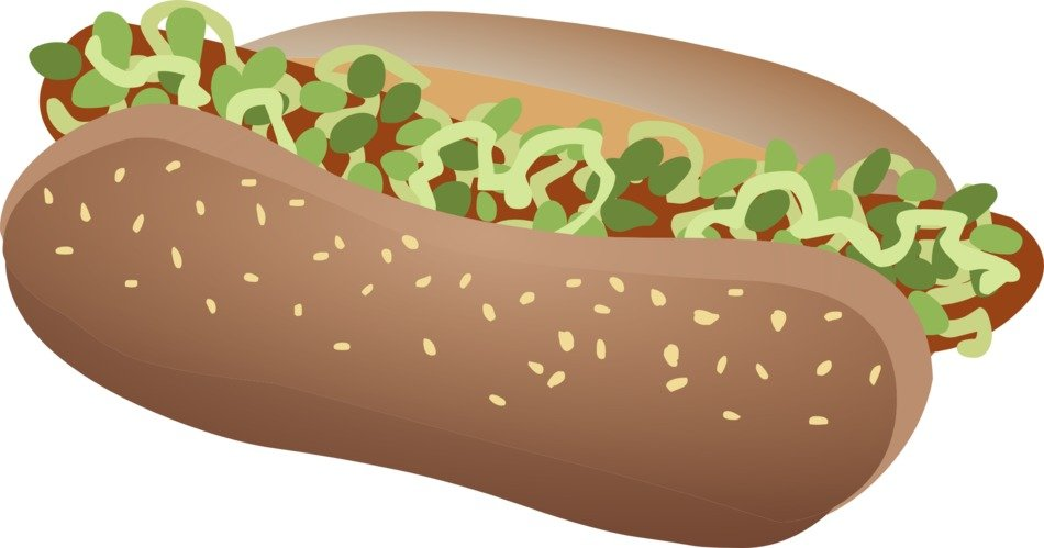Wiener hot dog clipart